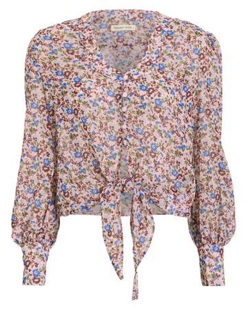 The East Order Sophie Tie Front Blouse Pink/floral L