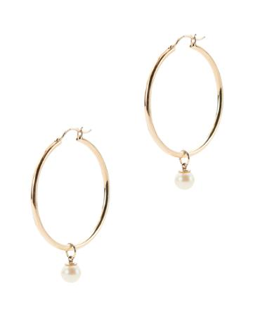 Mateo Pearl Charm Gold Hoops