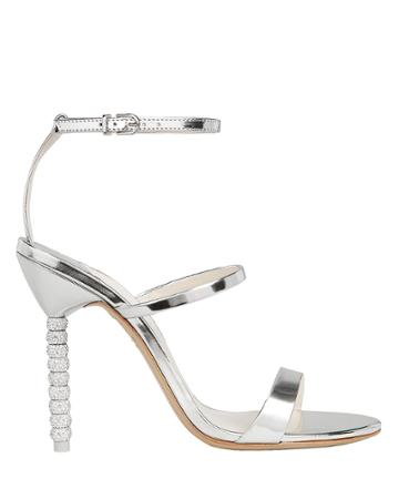 Sophia Webster Rosalind Crystal Stiletto Sandals Silver 36