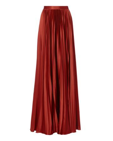 Amur Annie Pleated Slit Skirt Red 2