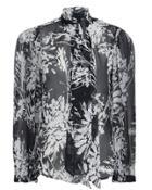 Equipment Femme Cleone Sheer Silk Blouse Black/white P