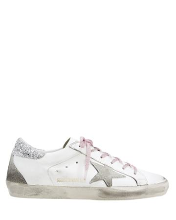 Golden Goose Superstar Pink Glitter Laces Low-top Sneakers White 35