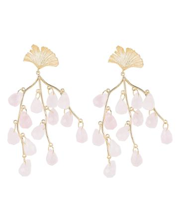 Apples & Figs Caress Of The Roses Earrings Gold/quartz 1size