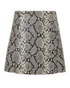 Veda Leather Python-printed Mini Skirt Grey Zero