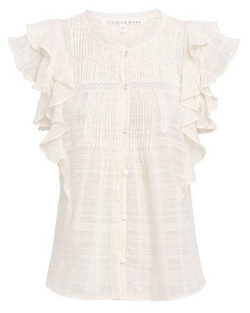 Veronica Beard Claire Ruffle Cotton Voile Top White 8