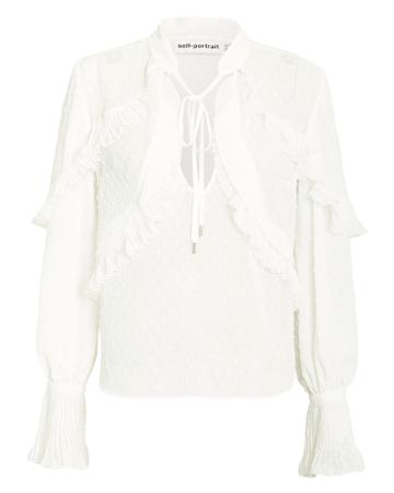 Self-portrait Plumetis Frilled Ivory Top Ivory 10