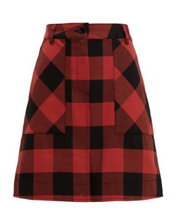 Tomas Maier Buffalo Check Mini Skirt Red-drk 4