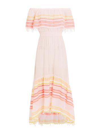 Lem Lem Lemlem Eskedar Off-the-shoulder Striped Dress Blush/yellow M