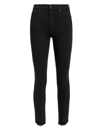 Mother The Stunner Zip Ankle Jeans Black Denim 24
