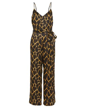 L'agence Jaelyn Silk Jumpsuit Brown/giraffe 8