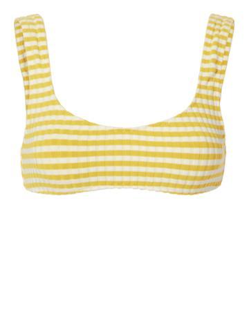 Solid & Striped Elle Yellow-striped Bikini Top Pattern M