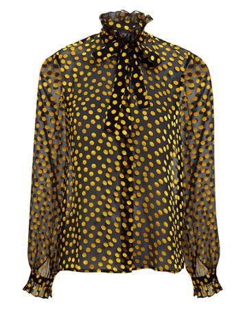 Saloni London Saloni Emile Sheer Black Polka Dot Blouse Black/gold 8