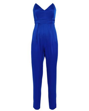 Michelle Mason Strapless Silk Tailored Jumpsuit Indigo 4