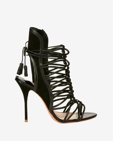 Sophia Webster Strappy Cage Suede Sandal: Black