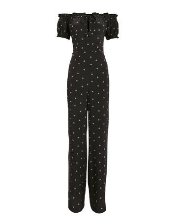 Exclusive For Intermix Intermix Annabel Off Shoulder Jumpsuit Black Floral Zero