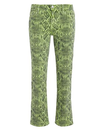 J Brand Selena Snakeskin Boot Cut Jeans Green/black 26