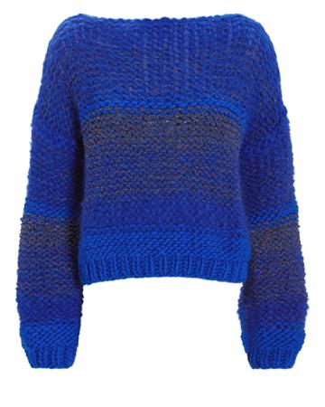 Maiami Tweed-look Blue Sweater Blue S/m