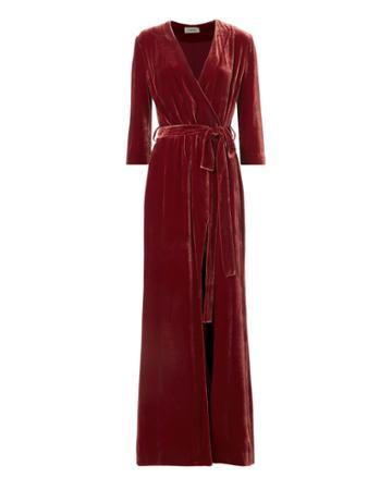 L Agence L'agence Rosalind Velvet Wrap Maxi Dress Red Zero