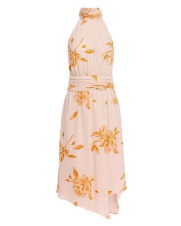Joie Kehlani Floral Midi Dress Blush/tangerine 10