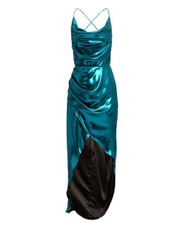 Haney Cowl Neck Metallic Blue Dress Blue 6