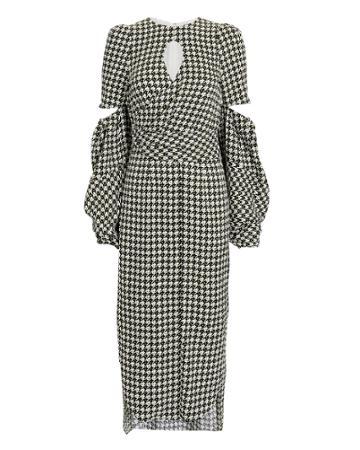 Hellessy Blair Houndstooth Lantern Sleeve Dress Blk/wht 2