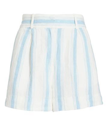 Frame Striped Linen Short Ivory/blue Stripe 4