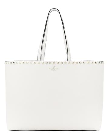 Valentino Garavani Rockstud Leather Shopper White 1size