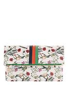 Clare V. White Floral Foldover Clutch