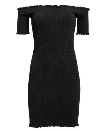5th & Mode Fifth & Mode Carmen Smocked Mini Dress Black L