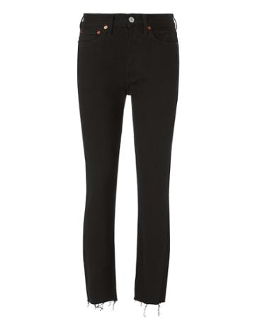 Re/done High-rise Ankle Crop Jeans Black 25
