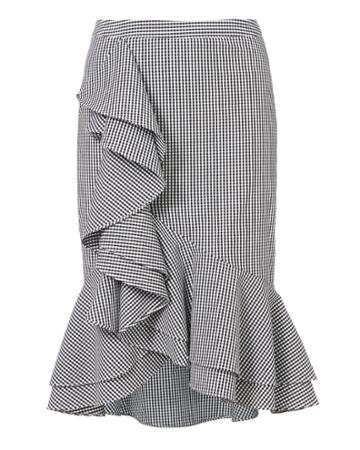 Exclusive For Interm Slyvia Ruffle Front Gingham Skirt