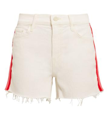 Mother Sinner Frayed Shorts Ivory/red/pink 30
