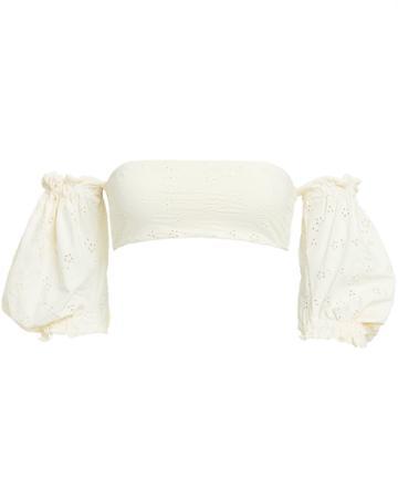 Onia Ravello Puff Sleeve Bikini Top White M