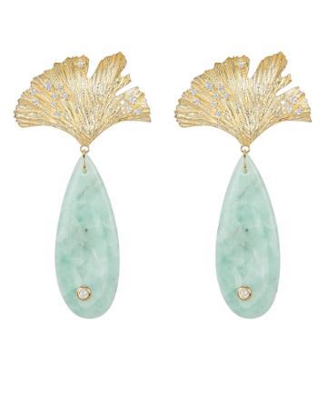 Apples & Figs Onyx Leaf Earrings Gold/sea Foam 1size