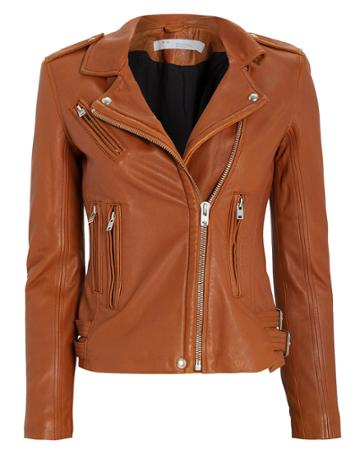 Iro Han Leather Moto Jacket Camel 38