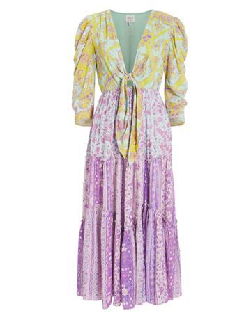 Hemant & Nandita Layla Midi Dress Yellow/purple Paisley P