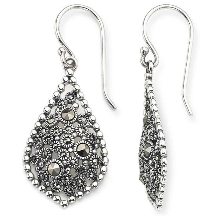 Sterling Silver Marcasite Teardrop Earrings
