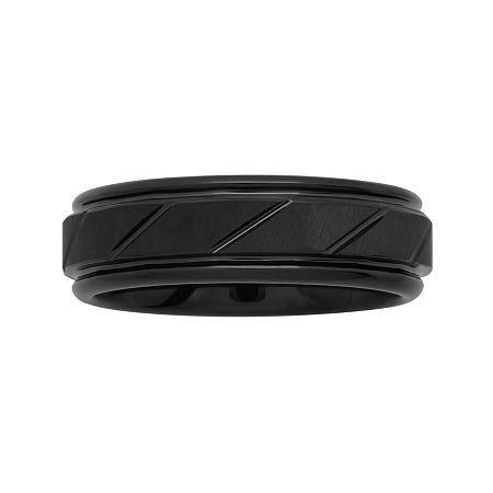 Mens 7mm Comfort Fit Grooved Tungsten Wedding Band