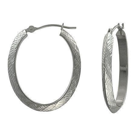 14k Gold Oval Diamond-cut Hoop Earrings