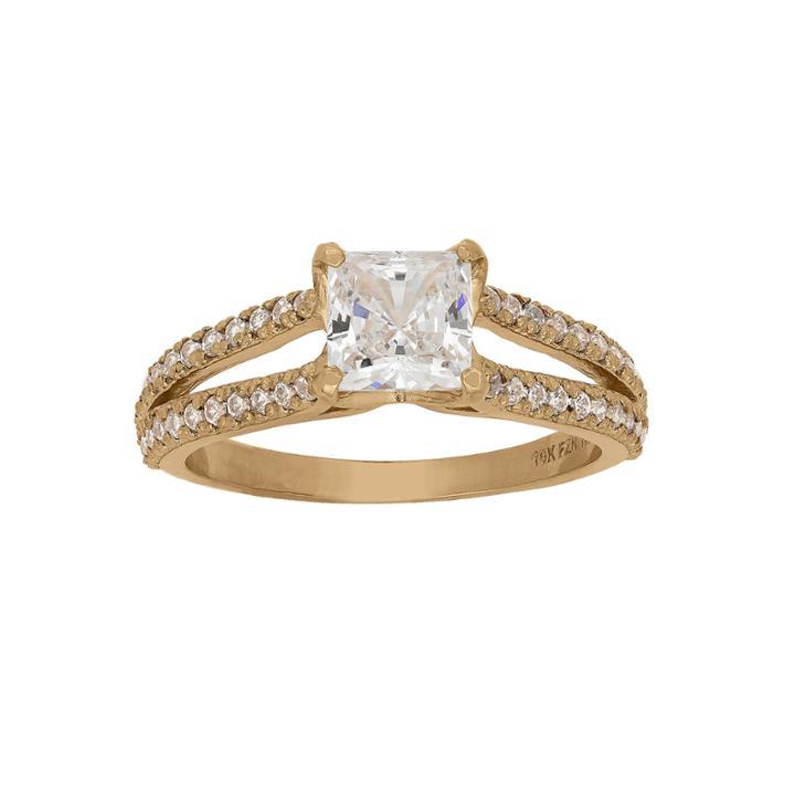 Diamonart Womens 1 5/8 Ct. T.w. Princess White Cubic Zirconia 10k Gold Engagement Ring