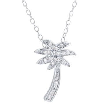 Silver Treasures Womens Clear Pendant Necklace