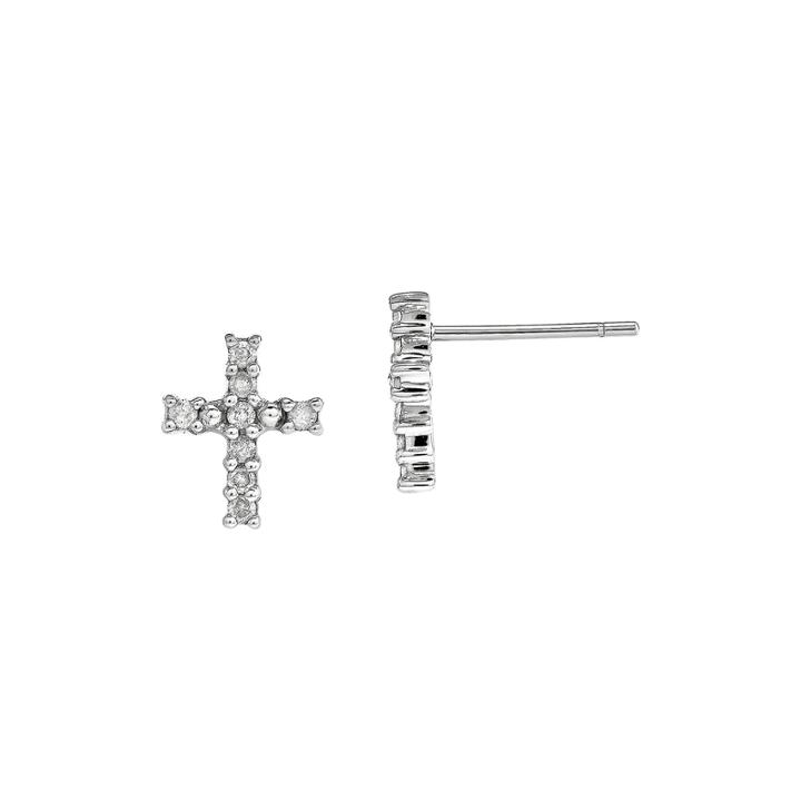1/5 Ct. T.w. Diamond 14k White Gold Cross Earrings