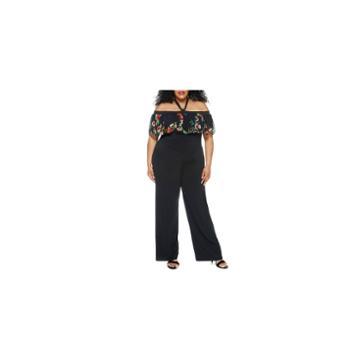 Fashion To Figure Cecilia Mesh Sleeve Off Shoulder Jumpsuit-plus