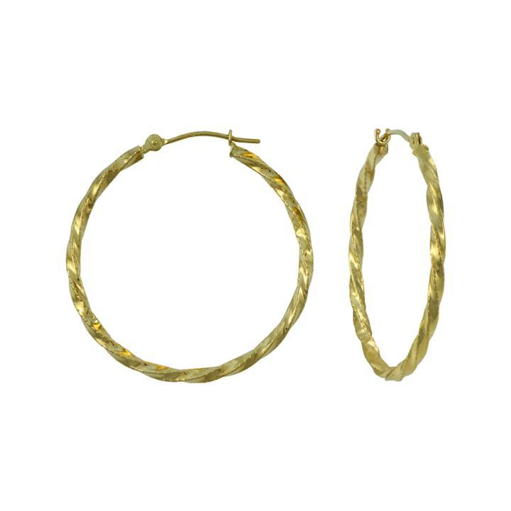 14k Yellow Gold 28mm Textured Hoop Earrings