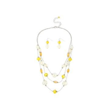 Mixit™ Yellow Bead Earring And Illusion Necklace Set