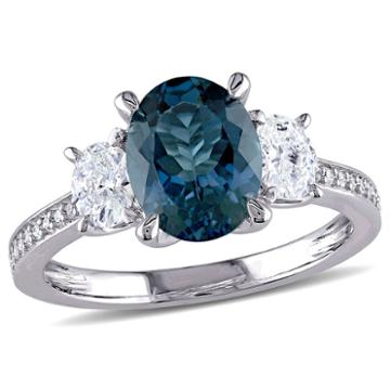 Modern Bride Gemstone Womens Blue Topaz 14k Gold Engagement Ring