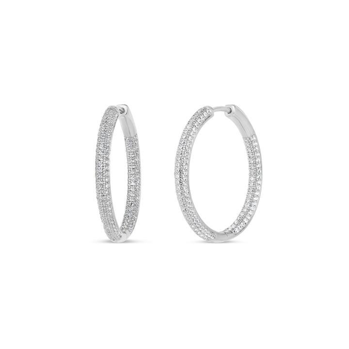 3 1/2 Ct. T.w White Cubic Zirconia Sterling Silver Hoop Earrings