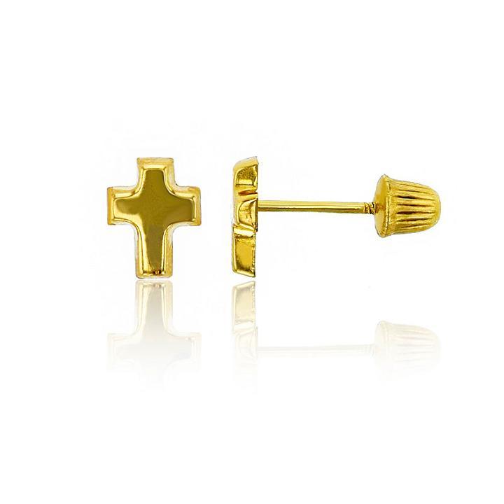 14k Gold 6mm Cross Stud Earrings