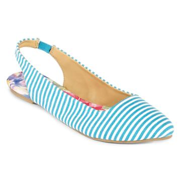 Totes Striped Slingback Flats