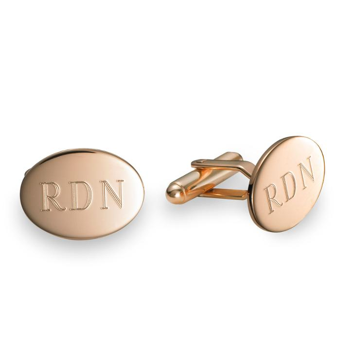 Polished Oval Cufflinks Plated 14k Pink Gold